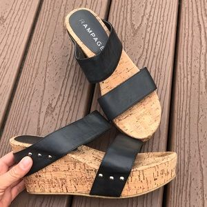 Black Strappy Wedges 8